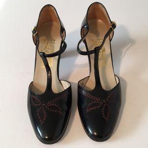 Salvatore Ferragamo Mary Jane Black patent leather